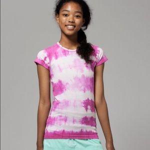 Girls Ivivva Fly Tech Pink Tie Dye T Shirt EUC